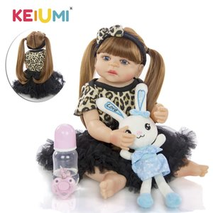 KEIUMI 2019 gros bébé reborn Menina 55 cm silicone pleine vinyle Princesse bébé reborn Poupées cheveux longs pour les enfants de cadeau d'anniversaire Y191211