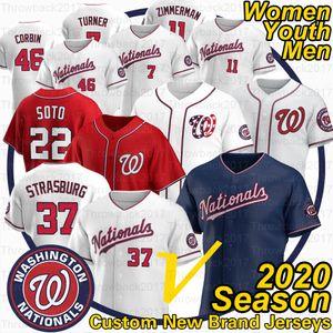 Washington Max Scherzer Jersey Juan Soto Stephen Strasburg Tree Turner Ryan Zimmerman 2020 Temporada Jerseys