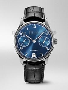 Homens de alta Qualidade 42.3mm IW 500710 Azul Dial Leather strapMovimento Automático Mens Watch Relógios dos homens