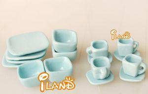 1:12DIY doll house Mini simulation porcelain toy Light blue ceramic tea set of 16