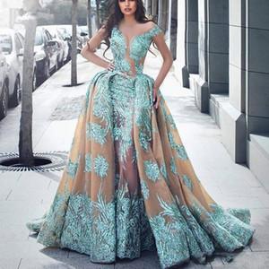 2019 Haute Couture Overskirt Sirena Vestidos de noche con tren desmontable Ilusión Escote Apliques de encaje Vestido de fiesta largo Vestido de fiesta
