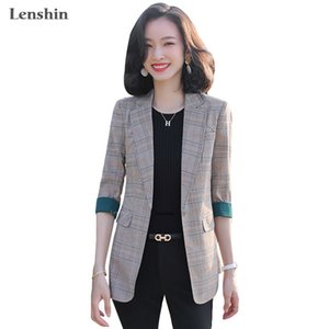 Lenshin Plaid Jacket for Women Summer Wear Female Casual Style Fashion Coat Half Sleeve Blazer Contrast Sleeve Tops Outwear
