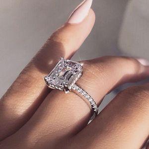 Vecalon Elegante Anillo de Promesa de Plata de Ley 925 Anillo de Fiesta de Declaración Anillo de Boda de Diamantes para mujer Joyería