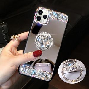 Bling Алмазный стенд Зеркало для макияжа ТПУ чехол для iPhone 11 Pro MAX Samsung S10 Plus S20 Ультра A10S A20S A51 A71 A01 A21 A11 A10 A20 A50 A70