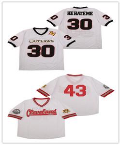 30 'Los 30' me odian 'Las Vegas Outlaws XFL Jerseys de fútbol blanco Stiched Cleveland Buckeyes 43 Jersey Tamaño S-3XL Buena calidad