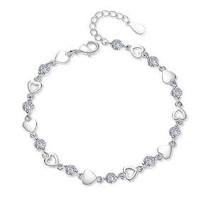 Pulseiras amor Sweety do coração com cristal S925 banhado a prata Charme Fazer a ligação pulseira de jóias com Roxo Branco CZ Diamante