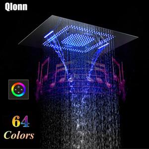 욕실 블루투스 LED 뮤직 샤워 헤드 강수량 안개 폭포 800 * 600mm Rmote 제어 샤워기 방수 스피커 304SUS 샤워