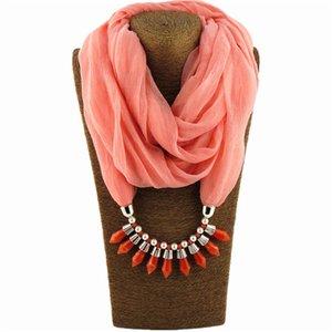Regalo per le donne Design moda filato tratto colletto Bullet ciondolo sciarpa Diamante biancheria selvaggia gioielli colore solido Piegare sciarpe