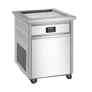 Singolo round fritti vaschetta gelato Roll Machine, commerciale fritto macchina del latte yogurt, gelatiera