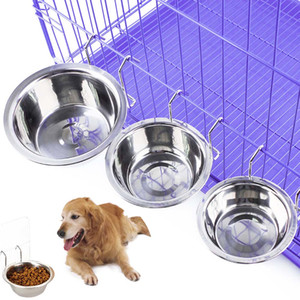 Pet Dog Cat Bowl Stainless Steel Hanging Cage Food Water Bowls Kennel Coop Cup Feeding Bowl for Puppy Bird Rabbit Kitten