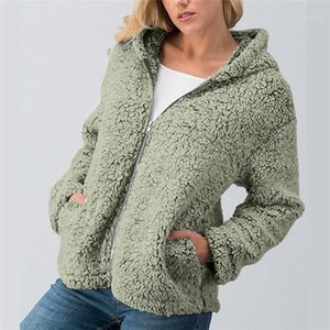 Solid Donna Zipper Fly Pocket Fur Cardigan Female Hooded Casual Tops Designer Women Faux Fur Coat