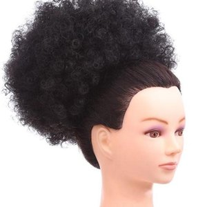 African American Afro Kinky Synthetic Curly Wrap Drawstring Puff Ponytail Extension