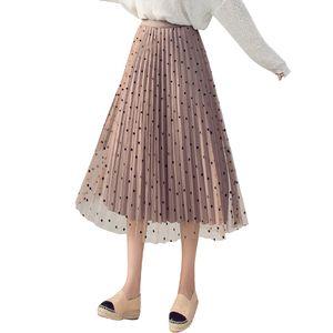 Velours Doublure Tulle Jupes Femmes 2019 Printemps Printemps Pois Jupe Femme Taille Haute Plissée Midi Jupe Longue Peut Porter Deux Côtés