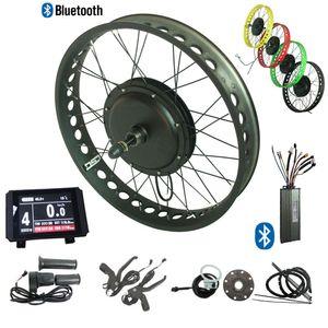 48V 1500W gros pneu électrique kit de conversion de vélo écran LCD couleur Fat Tire kit ebike avant contrôleur Bluetooth 135mm roue arrière 170 / 190mm