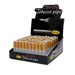 Tek boru pipo sharpstone tütün, sigara şeklinde metal alüminyum alaşım 55 / 78mm uzunluğu 100pc / kutu 8 mm çapında bat Metal boru