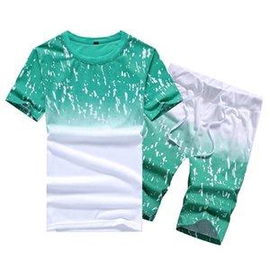 2020 Tracksuit men Casual Summer Men's Set Mens Floral T-Shirt + Print Beach Shorts Shirts Shorts Pants Two Piece Suit Plus