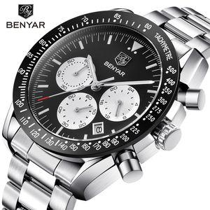 BENYAR Marca Homens Desporto Chronograph Relógios Todos os ponteiros trabalhar Waterproof Moda aço inoxidável relógio de quartzo dropshipping preto