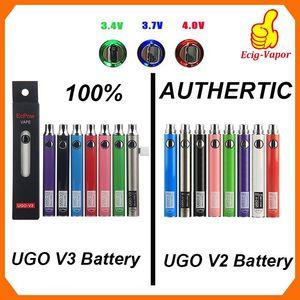 % 100 Orijinal EcPow UGO V2 V3 III Vaporizer Akü Onceden Değişken Voltaj 510 Konu EVOD EGO Mikro USB Şarj Vape Kalem