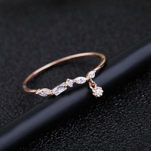 Korean Style Korean Style Hipster Einfache Persönlichkeit Kleine Anhänger Kreative Geometrische Zirkon Ring Hochwertig Überzogene Rose Gold