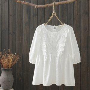 KYQIAO Hauts femmes et chemisiers chemisiers bohème femme 2019 été de style japonais ethnique chemise en coton blanc brodé boho