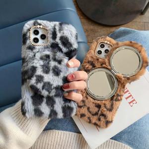 Luxe Téléphone cas pour Iphone 11 Pro X XS XR Xs Max 7/8 7/8 plus Miroir de maquillage en peluche Téléphone Top Case Qualité Designer Case Cover