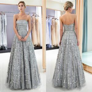 Sin tirantes de plata vestidos de baile 2019 lentejuelas tul para mujer vestido de noche largo Quinceanera fiesta de graduación vestido de bola CPS1162