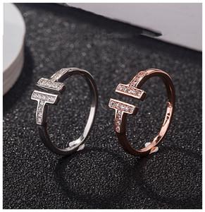 T diamante anillos de plata de ley 925 pares de plata diseñador de las mujeres se casan los anillos de compromiso de bodas hace amantes de la joyería de lujo de regalo