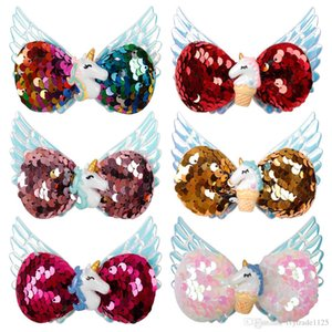 6 cores de 3,5 polegadas arcos de cabelo Clipes Unicórnio sequense Natal com anjo Asa arcos de cabelo Unicórnio Charme meninas Acessório Barrettes