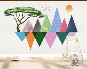 WDBH 3d wallpaper custom photo Nordic geometric mountain peak big tree elk tv sofa background wall home decor decoration painting