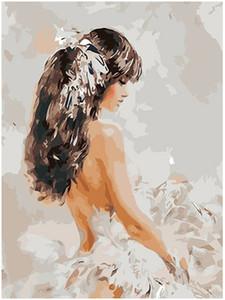 "Dipinto a mano fai da te Pittura ad olio Dipinto a mano per adulti Kit Paint-Jade girl 16 ""x20"""