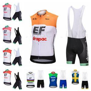 2019 EF Education First Pro Cycling Jersey Set ropa de bicicleta transpirable de secado rápido sin mangas de bicicletas Bib Shorts hombres ropa K032606