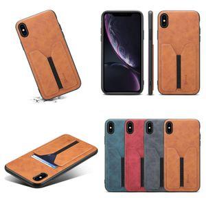 iphone 11 pro max x için ultra ince Vintage basit elastik Deri kartvizitlik arka kapak kılıf maksimum 6 7 8 artı xs