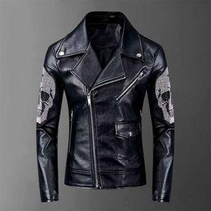 Herren-Designer Winter-PU-Lederjacke beiläufiger Normallack-Punk Jacke Herbst dünner Mantel-freies Verschiffen