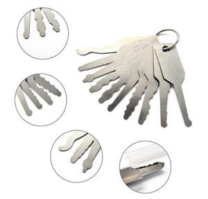 Jiggler llaves de 10 piezas abridor de puertas Conjunto completo llave maestra funcional para cerradura de la puerta abierta
