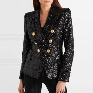 New America s latest explosion of women s jacket 2019 double breasted metal lion button sequined sequins mini suit