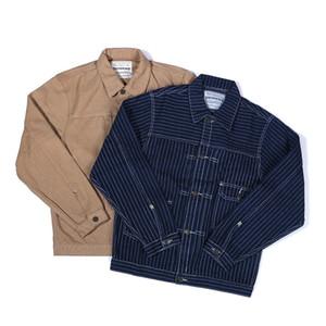 3 colori Mens Jackets Moda Tela Tooling Giacca bande verticali tasca risvolto Europei Americani Streetwear Outdoor Jacket Fashion Casual