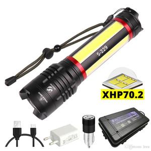 LED المصباح المدمج في بطارية ليثيوم 5000mAh قوة مع XHP70.2 + COB LED السوبر مشرق للماء ضوء التخييم