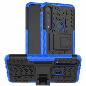Per Motorola Moto G8 Play / Motorola G8 Plus / Moto One Macro Difficile caso ibrida Armatura pelle di TPU basamento della protezione armatura basamento del Soft Cover Phone