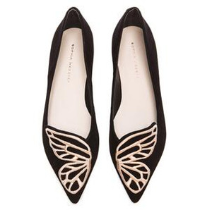 Free Shipping Sophia Webster Lady suede Leather, Butterfly Wings Embroidery, Sharp, Flat Shallow Women's Single Shoes, Size: 34-42
