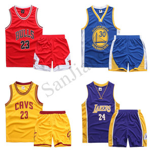 2020 Boys Girls Basketball Team Shorts Set Number Letters Teens Summer Two-piece Tracksuit Sweatsuit Sleeveless Vest Shorts Outfits D22001