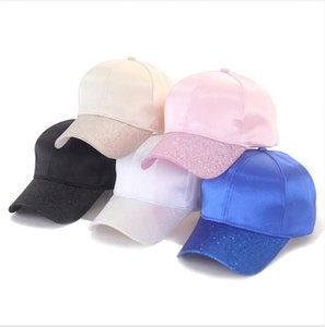 Mercerized Cotton Sequin Horsetail Caps Dome Hats Solid Color Adjustable Outdoor Sports Hat Trucker Pony Hat 60pcs LJJP46-1