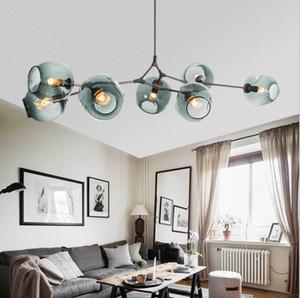 Vidro LED Pendant Light Nordic Art Glass Chandelier Globe Ramificação Chandelier Bolha para Sala Quarto