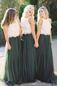 2.020 Tamaño nuevos dos pedazos verde dama de honor vestidos de encaje de tul sin mangas Top Plus Long Beach barato Criada de la boda formal de visitantes Dresse