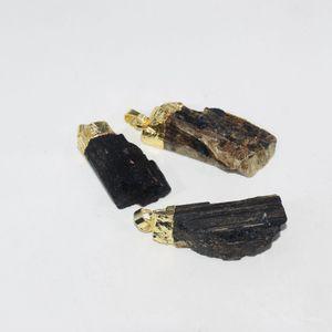 شحن مجاني كبير أسود الطبيعية التورمالين الذهب نقطة قلادة ل قلادة المختنق druzy الحجر الخام قلادة طويلة للنساء