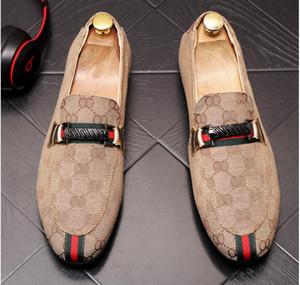 2019 New couro lona Casual sapatos Driving Oxfords Partido Flats homens preguiçosos Mocassins homens italianos casamento sapatos tamanho 38-43 BM710