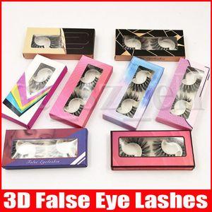 2 pares Natural pestañas largas pestañas falsas hechas a mano 3D de maquillaje grueso de las pestañas falsas Conjunto entrecruzado gruesas pestañas falsas del ojo
