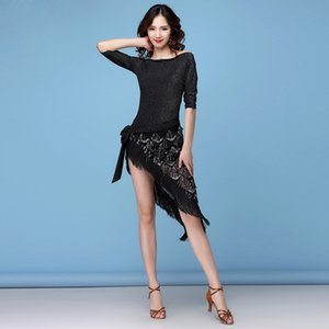 Dance Women Clothes Salsa Samba mezze maniche Spandex 2 Pezzi frange Latina Outfit Top e gonna