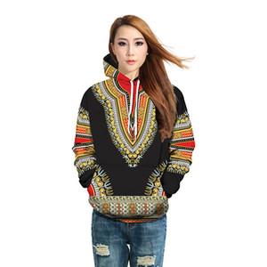 Padrão de impressão Bazin Riche Africano Dashiki Hoodie tradicional 3D pulôver hip hop africano roupas Mulheres Ethnic camisola A61201