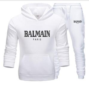 Tişörtü Pantolon Erkekler Eşofman Takımı İki Adet Baskı Fermuar Kapüşonlular Sweatpants Erkek Eşofman ilkbahar ve sonbahar Spor Spor