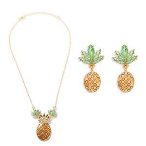 2020 Bohême Brillant Cristal Pineapple Boucle d'oreille pour les femmes d'été unique ananas boucle d'oreille Collier fille Bijoux cadeau en gros